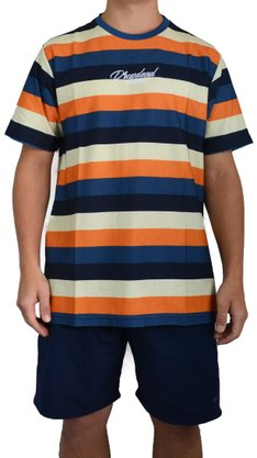 Camiseta Drop Dead Since Azul/Laranja/Creme