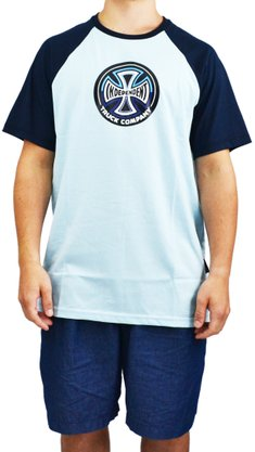 Camiseta Independent Raglan Split Cross Azul Claro
