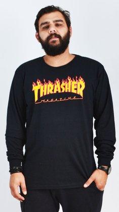 Camiseta Manga Longa Thrasher Flame Logo Preto