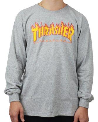 Camiseta Manga Longa Thrasher Flame Mescla Claro