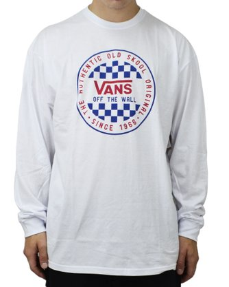Camiseta Manga Longa Vans Checker Branco