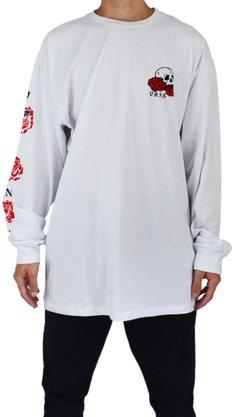 Camiseta Manga Longa Vans Rose Bad Branco