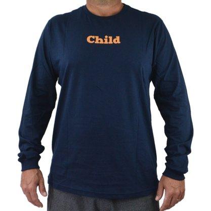 Camiseta Manga Longa Masculina Child Psichopace Azul Marinho