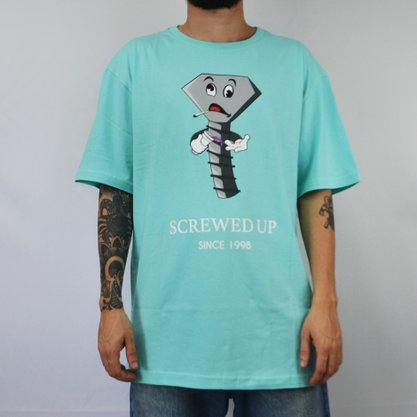 Camiseta Masculina Diamond Screwed Up Azul Claro