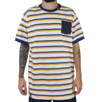 Camiseta Masculina Mess Deluxe Listrada Branco
