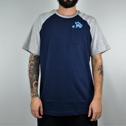 Camiseta Masculina Santa Cruz Raglan Screamiing Azul