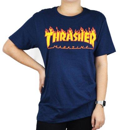 Camiseta Thrasher Flame Logo Azul Marinho