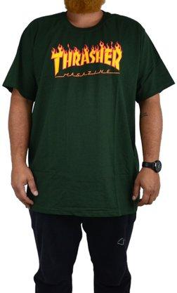 Camiseta Thrasher Flame Logo Big Verde Militar