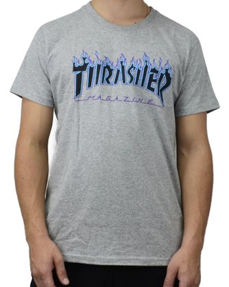 Camiseta Thrasher Purple Flame Logo Mescla Claro