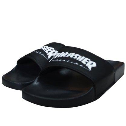 Chinelo Slide Thrasher Skate Magazine Preto