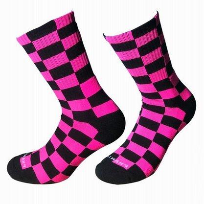 Meia Phante Socks Quadriculada Rosa