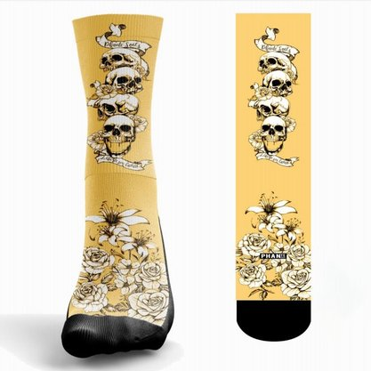Meia Phante Socks Roses Skull Estampada
