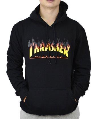 Moletom Canguru Thrasher Barbecue Preto