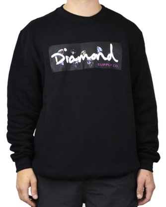 Moletom Diamond Colors Block Logo Preto