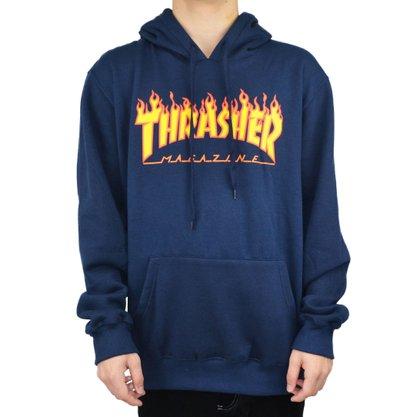 Moletom Thrasher Flame Logo Azul Marinho