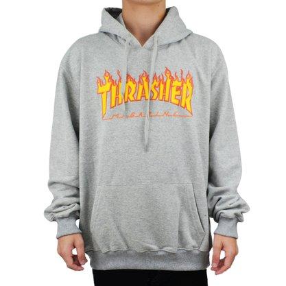 Moletom Thrasher Flame Logo Mescla Claro