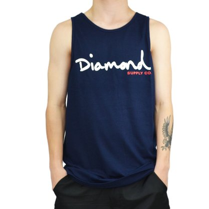 Regata Diamond Script Tank Azul Marinho