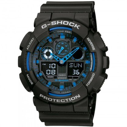 Relógio G-shock Masculino GA-100-1A2DR Preto/azul