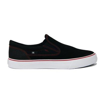 Tênis DC Shoes Trase Slip-On Preto/Vermelho/Branco