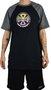 Camiseta Independent Raglan Split Cross Preto/Mescla Escuro