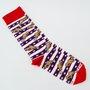 Meia Phante Socks Chicken Vermelho/Azul Marinho